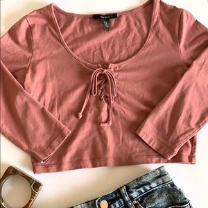 Forever  21 Pink Lace Tie Up Long Sleeves Crop Top